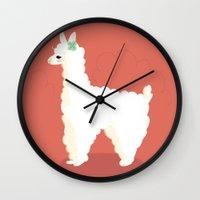 alpaca Wall Clocks featuring Alpaca by Laura Gómez