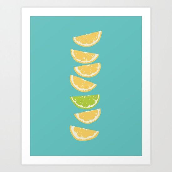 Citrus Tip - Turquoise Art Print