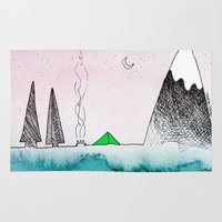 camping Area & Throw Rugs featuring Pretty Camping by Lauren Strom