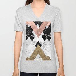 Modern geometric chevron black white marble rose gold foil gold triangles pattern Unisex V-Neck