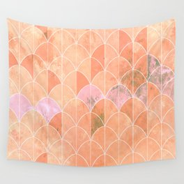 Mermaid scales. Peach and pink watercolors. Wall Tapestry