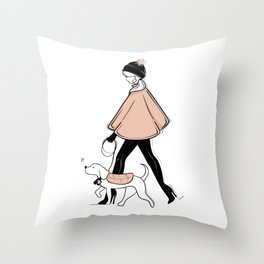 Winter Walk with my Pup Fashion Illustration Throw Pillow
