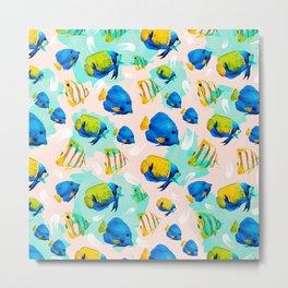 Watercolor fish pattern Metal Print