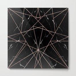 Modern Geometric Rose Gold Marble Triangles Metal Print