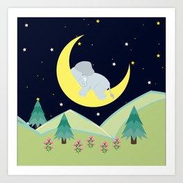 Elephant on the moon , nursery decor , Art Print