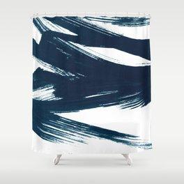 Gestural Abstract Indigo Blue Brush Strokes Shower Curtain