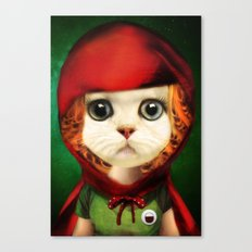 Kitten red riding  Canvas Print