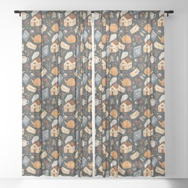 Cozy Cottage Pattern Sheer Curtain
