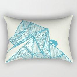 Tiny polar bear on iceberg in teal on gold geometric pattern Rectangular Pillow
