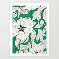 peonies Art Prints featuring green peonies by Marcella Wylie