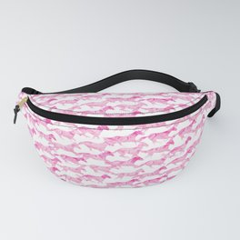 Running Watercolor Horses Pattern - Pink Fanny Pack