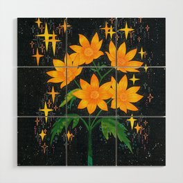 Yellow flowers Wood Wall Art