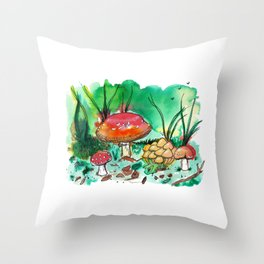Toadstool Mushroom Fairy Land Throw Pillow