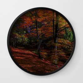 trail in the autumn forest - digital artwork Wall Clock