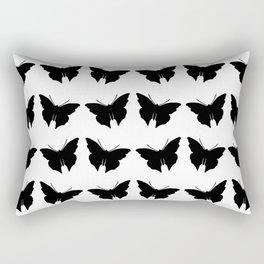 Black Bold Mod Butterflies Rectangular Pillow