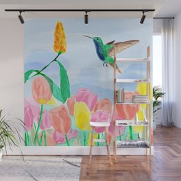 Humming bird, roses and tulipanes with leaves on blue. Wall Mural