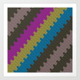 Colorful Zigzag Pattern Art Print