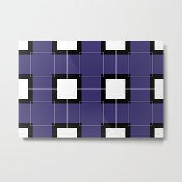 White Hairline Squares in Deep Purple Metal Print