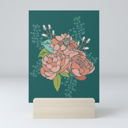 Moody Florals in Teal Mini Art Print