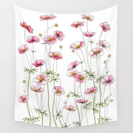 Pink Cosmos Flowers Wall Tapestry