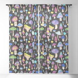 Colorful Mushroom Watercolor on Black Sheer Curtain