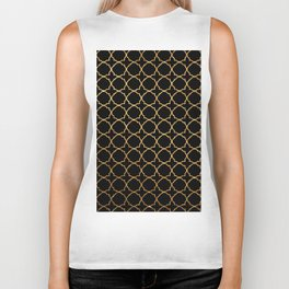 Elegant black faux gold glitter chic quatrefoil vector illustration Biker Tank