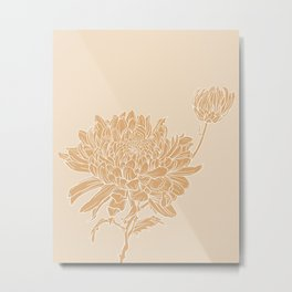 Chrysanthemum Neutrals Metal Print