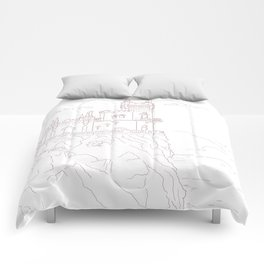 Old medieval castle on the cliff, wall art Comforters