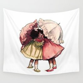 Vintage Children Girls with Umbrellas Wall Tapestry