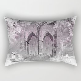 City Art Brooklyn Bridge in Detail | rose Rectangular Pillow