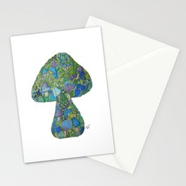 Lavender Blue Mushroom Love Stationery Cards