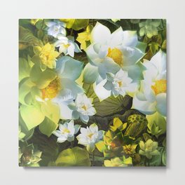 """White flowers forest"" Metal Print"