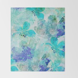 blue turquoise mixed media flower illustration Throw Blanket