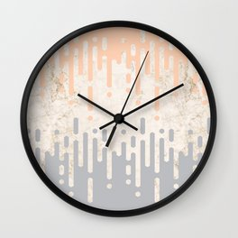 Marble and Geometric Diamond Drips, in Grey and Peach Wall Clock