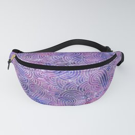 Purple and faux silver swirls doodles Fanny Pack