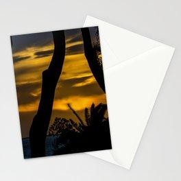 Silhouette Sunset Landscape Scene, Montevideo - Uruguay Stationery Cards