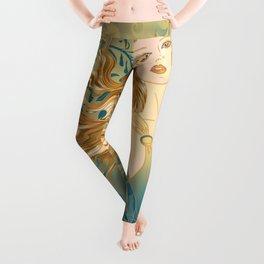 Golden Teal Woman Leggings