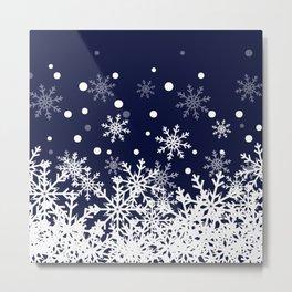 Snow in Blue Metal Print