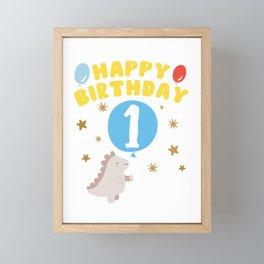 Children's 1st birthday dinosaur Framed Mini Art Print