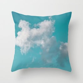 Floating cotton candy with blue green Throw Pillow