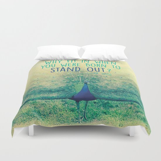 Peacock Spreading Feathers Duvet Cover