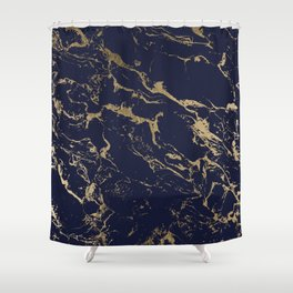 Modern luxury chic navy blue gold marble pattern Shower Curtain