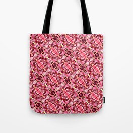 Red and pink flower pattern Tote Bag