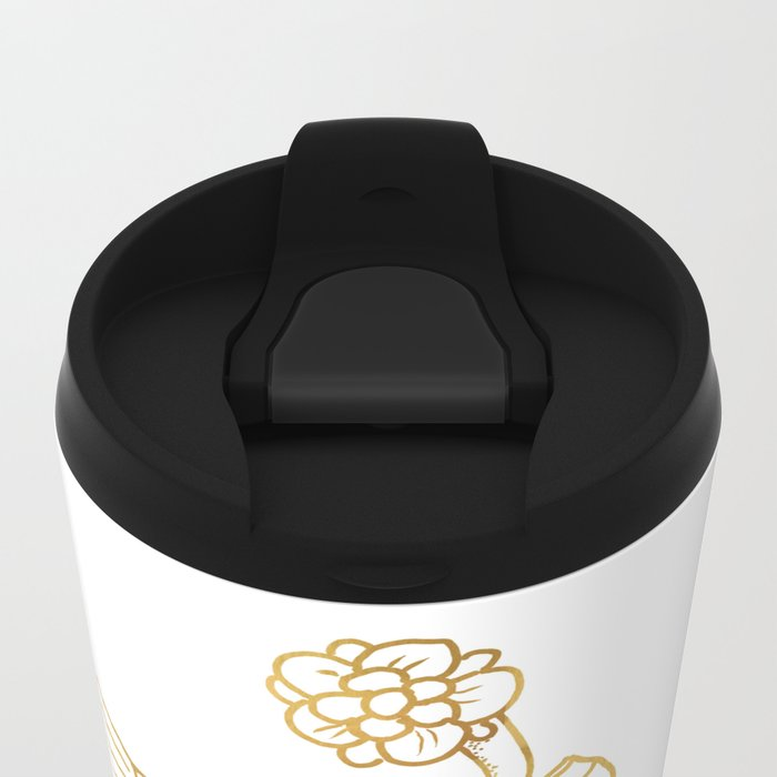 the river holds a flower . gold Metal Travel Mug