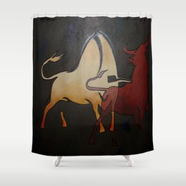 Two Bulls Fighting Shower Curtain