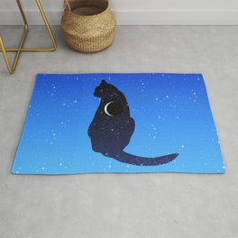 Cosmic Cat on a Starry Sky Background Rug