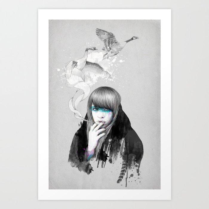 Swan Love Art Print