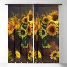 Baskets of Sunfowers Blackout Curtain