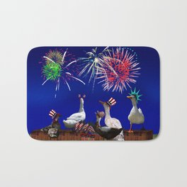 Ducky Celebration for the 4th of July Bath Mat