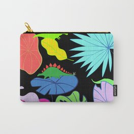 Neon Dinosaurs & Leaves  Carry-All Pouch